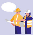 group of builders with speech bubble vector image vector image
