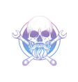 hand drawn sketch skull with wrench vector image vector image