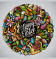 happy easter hand drawn doodles vector image vector image