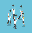 isometric businessman throw graduation hat in the vector image
