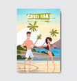 man woman hand holding couple relax beach summer vector image