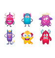 monsters emotions cartoon collection vector image vector image