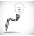 Pencil and light bulb concept of idea vector image vector image