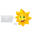postman cartoon sun with mail vector image vector image