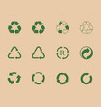 recycle icons and recycling signs set trash vector image vector image