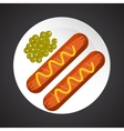 Sausage with peas vector image
