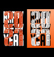set 2021 happy new year orange and white ribbon vector image vector image