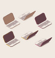 set isometric colored outline laptops vector image