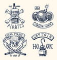 set of engraved hand drawn old labels or badges vector image vector image