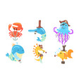set sea animals in role a pirate vector image