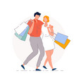 shopping couple isolated shopaholic man vector image
