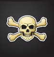 sticker skull jolly roger with crossbones behind vector image
