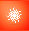 sun icon isolated on orange background vector image