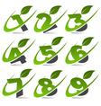 Swoosh Green Numbers Logo Set4 vector image vector image