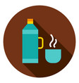 thermos bottle circle icon vector image vector image