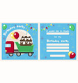 truck birthday invitation vector image vector image