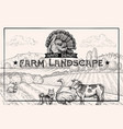 vintage barn landscape and farm animals ostrich vector image vector image