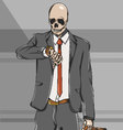 Working class skull employee on suit go to work vector image vector image