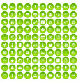 100 childrens parties icons set green circle