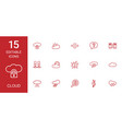 15 cloud icons vector image vector image