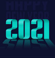 2021 happy new year green ribbon font on blue vector image