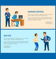 bad job and worker control web pages boss vector image vector image