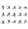 black skiing stick figure icons set vector image vector image