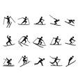 black skiing stick figure icons set vector image