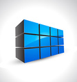 blue shiny cubes shapes vector image