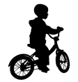 boy and bicycle silhouette vector image