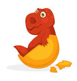 bright red baby dinosaur inside yellow egg shell vector image vector image
