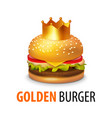 burger with crown isolated on white background vector image