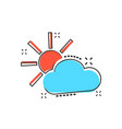 cartoon weather forecast icon in comic style sun vector image