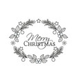 christmas frame with pine branches and mistletoe vector image vector image