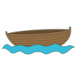 colorful silhouette wooden fishing boat in river vector image vector image