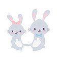 cute couple rabbits with bow tie animal cartoon vector image