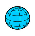 earth globe sphere 3d with wireframe lines blue vector image vector image