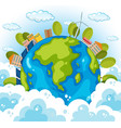 earth with houses and trees in sky vector image vector image