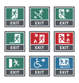 emergency fire exit sign set exit door label vector image