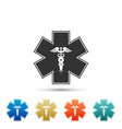 emergency star symbol caduceus snake with stick vector image vector image