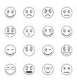 Emoticon icons set thin line style vector image vector image
