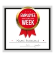 Employee of the week certificate template vector image