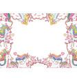 fantasy unicorns frame vector image