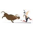 farmer or cowboy and angry bull vector image vector image