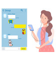 female chatting send message smartphone vector image