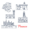 france travel landmarks tours in aquitaine vector image vector image