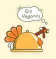 go vegan thanksgiving turkey bird color symbol vector image vector image