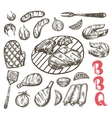 Grill Sketch food set BBQ food is sausages etc vector image