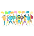 group people with mobile phones vector image