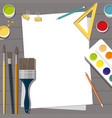 hobby paints brushes pencils pen paper vector image vector image
